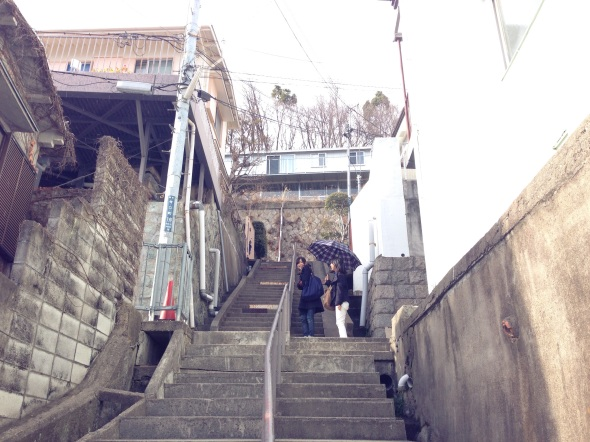 Approaching House in Rokko via the communal stairs